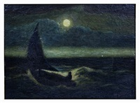 man in boat on moonlit sea by albert pinkham ryder