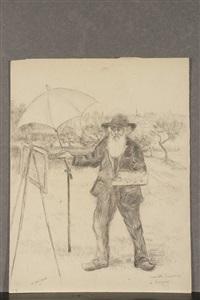 camille pissaro peignant dans son jardin d'eragny crayon by georges manzana-pissarro