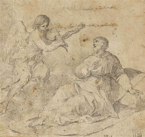 an angel violinist appearing to saint francis of assisi by giovanni francesco romanelli