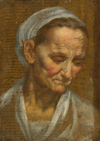 head of an old woman looking down to the right by annibale carracci
