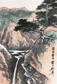 松山鸣泉 立轴 设色纸本 (pine and spring) by xie zhiliu
