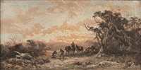 rural scene, men and horses by james waltham curtis