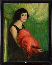 portrait de jeune femme au châle rouge by gustavo bacarisas