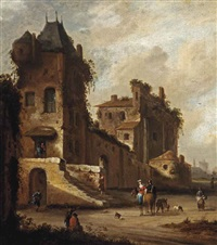 a 'capriccio' view of a village street with a couple on horseback and other figures by johannes lingelbach and roelof van vries