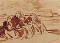 les bigoudènes à saint-guénolé-penmarc'h by jean julien lemordant