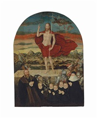 an epitaph: the resurrected christ with a donor family by lucas cranach the younger