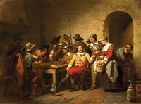 soldiers playing backgammon in a tavern by willem pieter hoevenaar