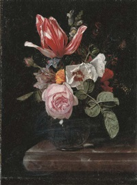 roses, peonies, a tulip and other flowers in a glass vase on a stone ledge by cornelis kick