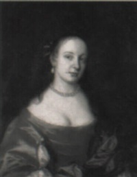 portrait of a lady, in an orange dress by john hayls