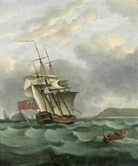 the h.m.s. winterton off dover by thomas whitcombe