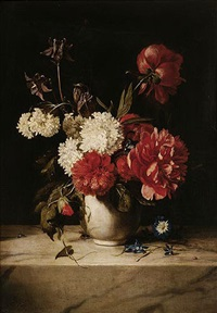 still life of peonies, columbine, morning glory and other flowers in a vase upon a marble ledge with a bee and a ladybird by dirk de bray