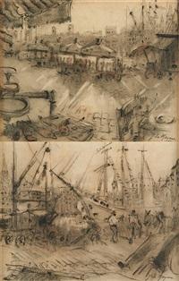 vue du port de marseille (2 works) by adrien jean le mayeur de merprés