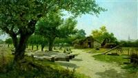 les mûriers du pont-juvénal, près montpellier (hérault) by eugène baudouin
