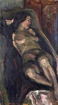 liegender weiblicher akt by hans joachim muller