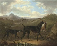 two greyhounds with a hare, in an extensive mountainous landscape with huntsmen coursing beyond by charles towne
