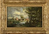 vache au bord de l'étang sous un ciel orageux by jules dupré
