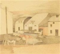 cows near a village square; cows; landscape (3 works) by heinrich campendonk
