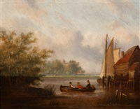montelbaans tower, amsterdam (+ figures in a rowing boat on an inland waterway; 2 works) by carl eduard ahrendts