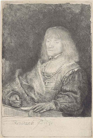 man at a desk wearing a cross and chain by rembrandt van rijn