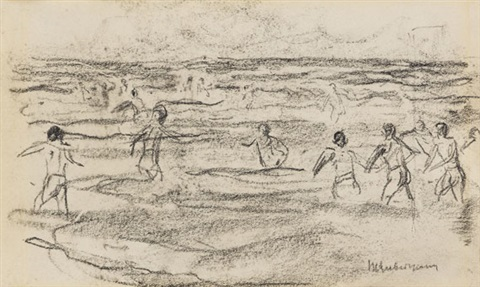 badende knaben from sketchbk by max liebermann