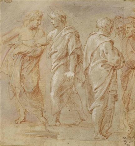 skizzenblatt mit zwei personengruppen jugend und alter im gespräch after raffael by sir peter paul rubens