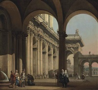 an architectural capriccio with figures and a soldier by a pond, and others in the courtyard beyond by bernardo bellotto