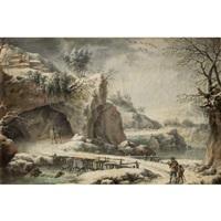 paysage de rivière gelée animé de personnages by francesco foschi