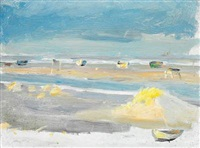 boats on the beach, skagen by anna kirstine ancher