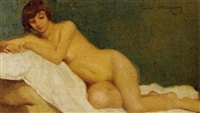 reclining female nude by jules migonney