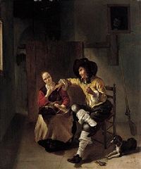 an interior with a sportsman making advances on a maiden making lace by gerrit lundens
