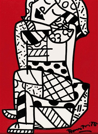 sitting girl by romero britto