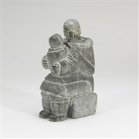 mother with child holding a kamik by evie tullaucaq koperquacuk