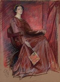 portrait of a woman wearing an elizabethan headdress by edwin austin abbey