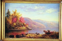 river landscape with deer by charles lanman