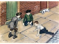 three boys playing with marbles on a pavement, a dog nearby by tom dodson