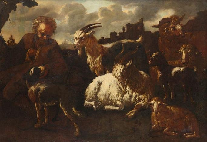 paysage méditerranéen animé dun berger de moutons et de boucs avec ruines à larrière plan by philipp peter roos