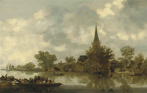 a river landscape with a church a ferry and figures in rowing boats by jan josefsz van goyen