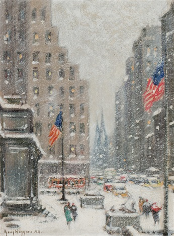 winter storm at the library new york by guy carleton wiggins
