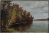 river landscape with people on shore by elbridge wesley webber