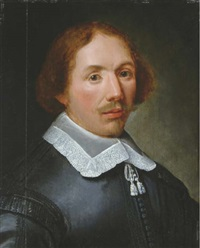 portrait of a gentleman (the artist?), half-length, in a black costume by alexander van gaelen