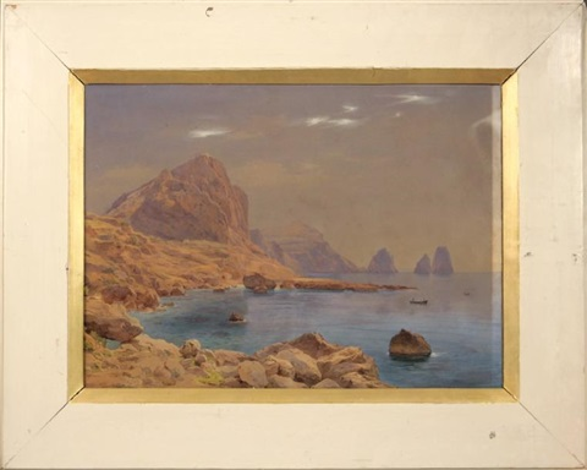vue des rochers à capri by salomon corrodi