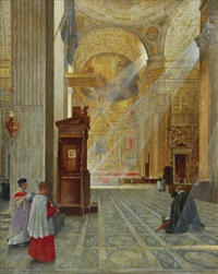interior of st. peter's in rome by hans kolitz