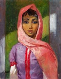 portrait de jeune fille au voile rose by charles ernest smets