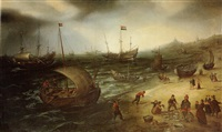 a fishing fleet coming ashore at scheveningen by cornelis hendriksz vroom