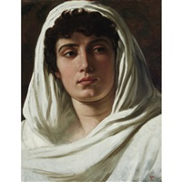 woman draped in white by elihu vedder