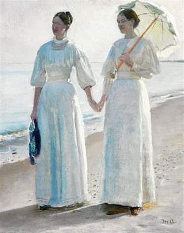 minne and sophie holst in light summer dresses on skagen beach study for painting by michael peter ancher