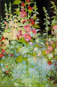 hollyhocks by daniel pender davidson