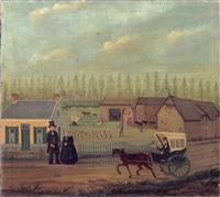 deux personnages devant une ferme recevant un courrier by j. r. haak