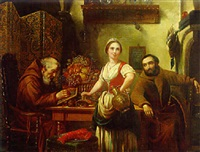a kitchen interior with a milkmaid and monks by josef cornelius correns