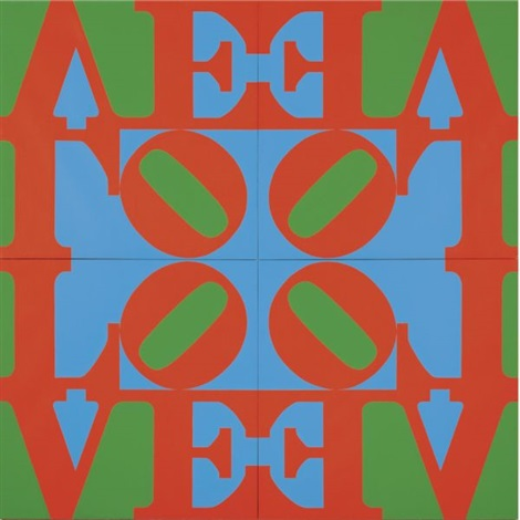 love wall - red green blue (in 4 parts) by robert indiana